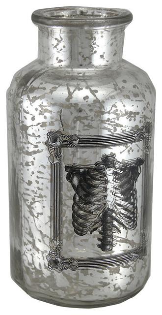 Decorative Mercury Glass Rib Cage Apothecary Bottle transitional-vases