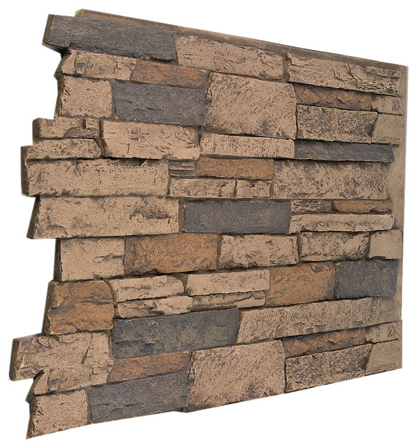 Wide Stacked Stone Wall Panel - Aztec.