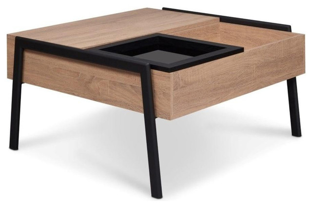 Wooden Coffee Table With Lift Top Removable Gl Tray Natural Brown Black