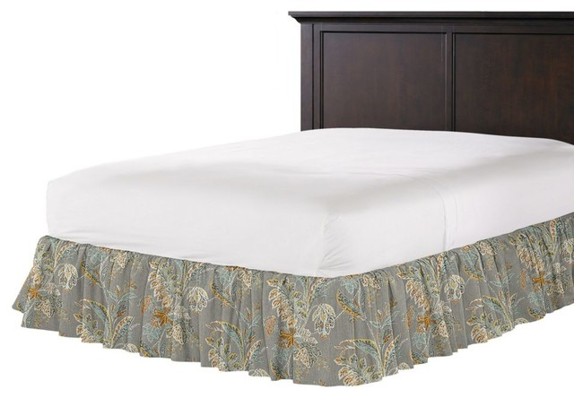 loom decor paisley style gray floral ruffle bed skirt 86041