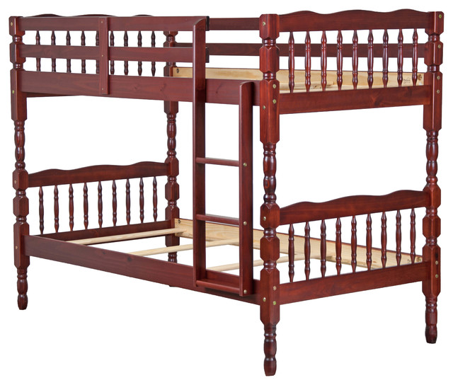 100% Solid Wood Arlington Twin Over Twin Bunk Bed By Palace Imports, Honey  Pine
