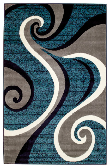 Summit H32 Blue Swirl Abstract Area Rug Contemporary