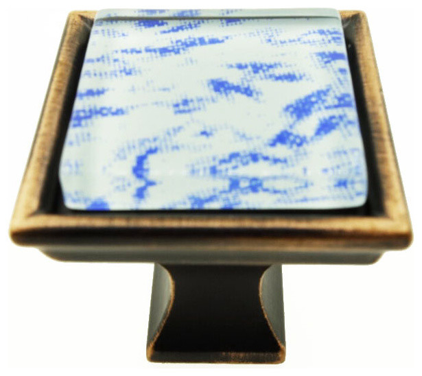 Hand Brushed Surreal Blue Clouds Crystal Glass Oil Rubbed Bronze Classic Knob - Contemporary ...