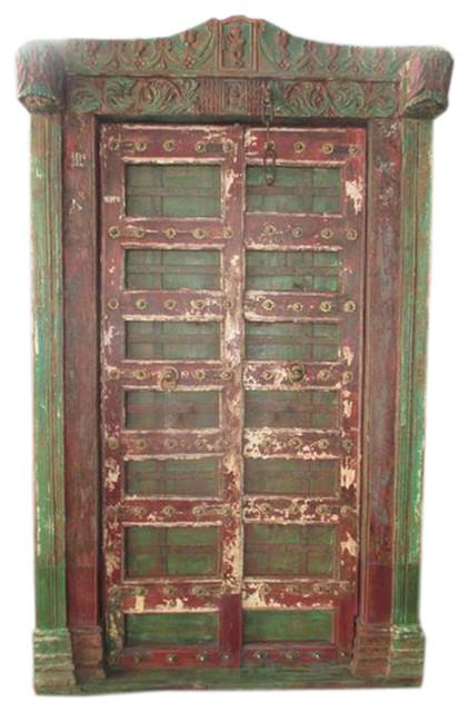 Krishna Door Hand Carved Reclaimed Antique Style Teak Doors & Arch Frame  India asian-interior - Krishna Door Hand Carved Reclaimed Antique Style Teak Doors & Arch