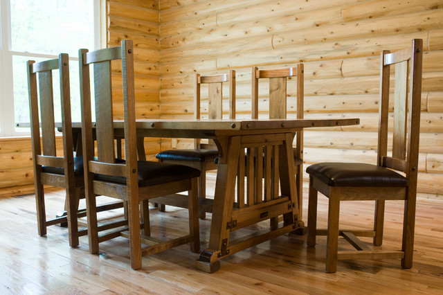 rustic bungalow mission style dining table traditional dining room - Mission Style Dining Table