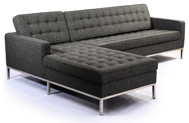 Midcentury Florence Sectional, Carbonite, Material: Twill, Left.