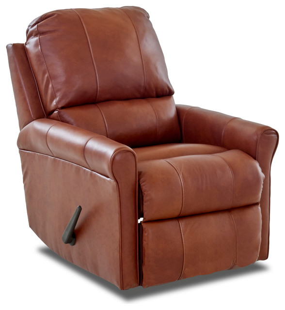Genial Baja Leather Reclining Rocking Chair, Chestnut