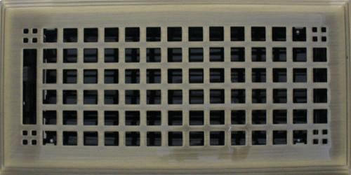 "Antique Brass Rockwell Plated Steel Craftsman Floor Register, 6""x12""."