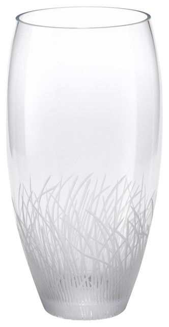"15"" Tall Engraved Glass Vase, Oval Shaped"