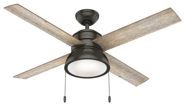 """Hunter Fan Company 52"""" Loki Ceiling Fan With Light Kit, Noble Bronze"""