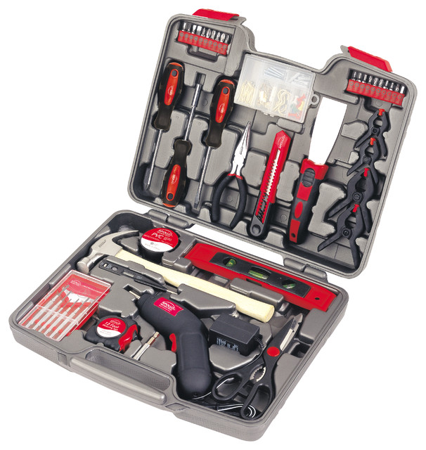 Apollo Tools 144 Piece Household Tool Kit With 4.8v Cordless Screwdriver.