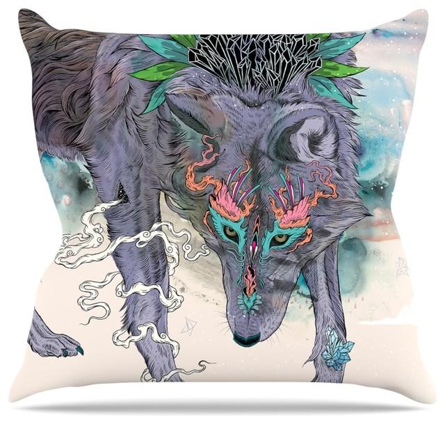 Mat Miller Journeying Spirit Wolf Throw Pillow