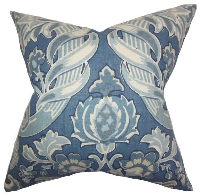 Decorative Denim Pillows : The Pillow Collection - Kiriah Floral Pillow Denim - View in Your Room! Houzz