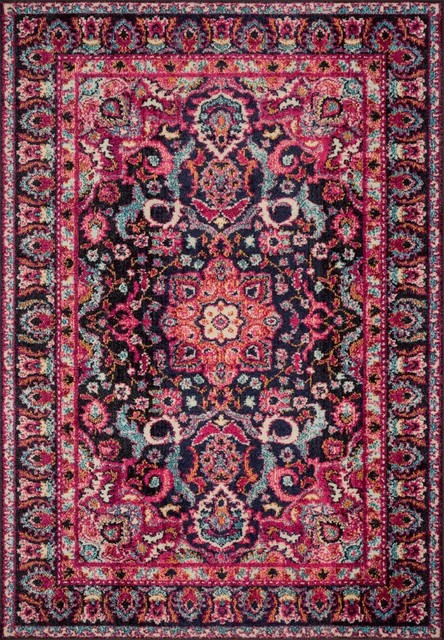 "Nadia Area Rug, Midnight/Pink, 5'1""x7'7"""