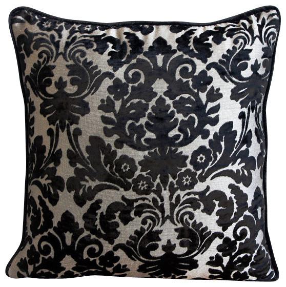 """Damask Black Burnout Velvet 14""""x14"""" Throw Pillows Cover, Damask Black"""