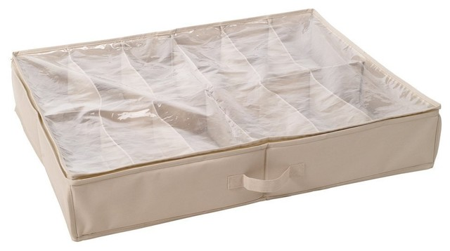Storagemaniac Durable 12-Pair Underbed Shoe Organizer With Cover And Zipper.