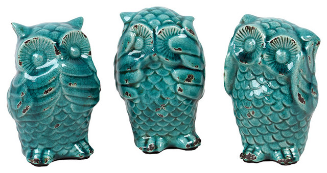 Ceramic Owl Set Of Three Antique Depicting The Mystic Apes Decorative Objects And Figurines By Gwg Outlet