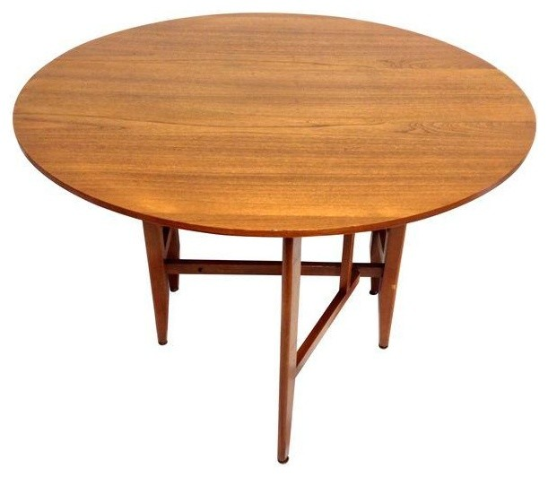 Mid century round drop leaf table for Round drop leaf dining table