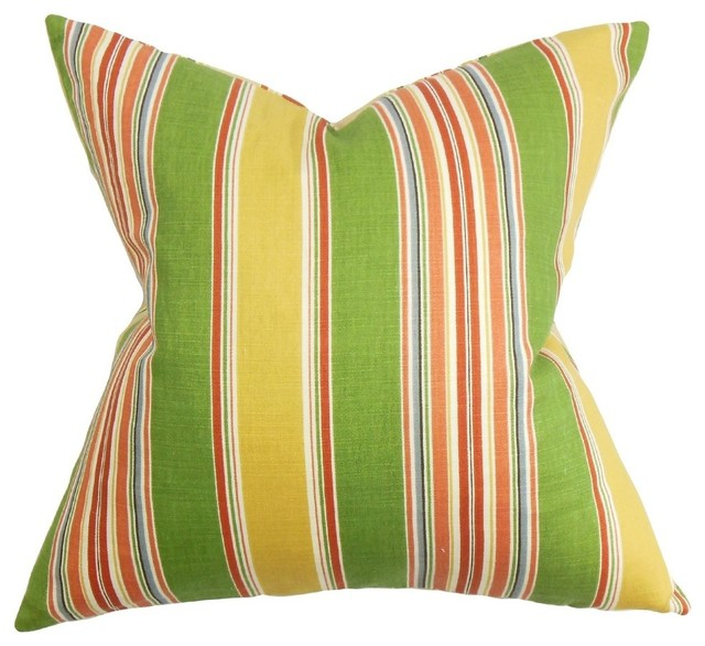 Yellow Green Decorative Pillows : Hollis Stripes Pillow, Green Yellow - Contemporary - Decorative Pillows - by The Pillow Collection