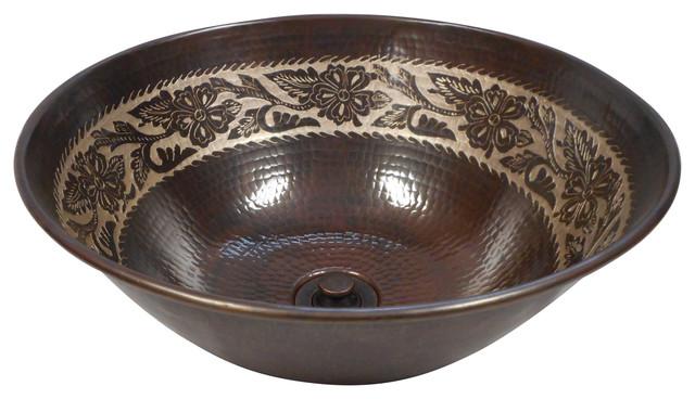 "14"" Round Silver Floral Overlay Copper Vessel Bath Sink Lift N Turn Drain."