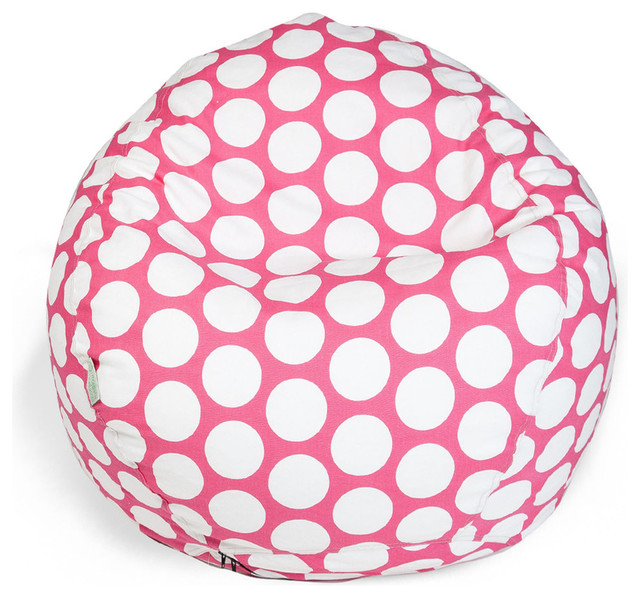 Indoor Hot Pink Large Polka Dot Small Bean Bag