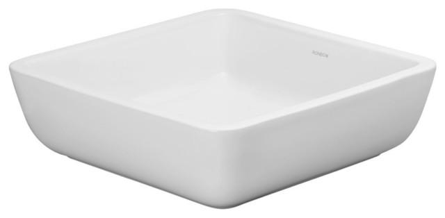 Ronbow Essentials Domain 15 Square Ceramic Vessel Bathroom Sink, White.