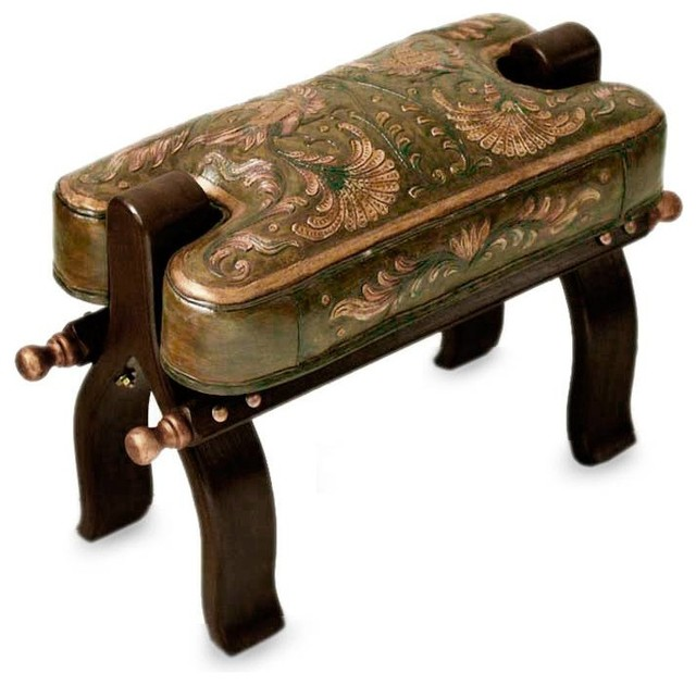 Groovy Novica Bird Of Paradise Mohena Wood And Leather Stool Alphanode Cool Chair Designs And Ideas Alphanodeonline
