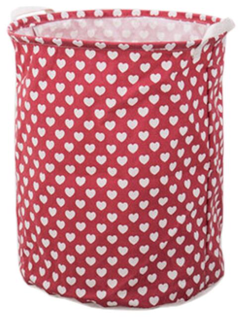 Household Folding Laundry Basket, Love Red.