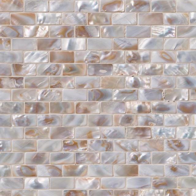 Santorini Brick Pattern Shell Glass Mosaic Tiles, 10 Pieces