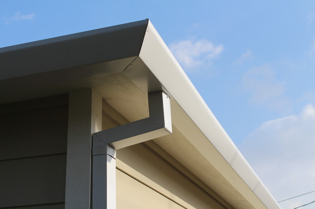 Satin White Aluminum Rain Gutter System in Mar Vista California - Contemporary - Los Angeles ...