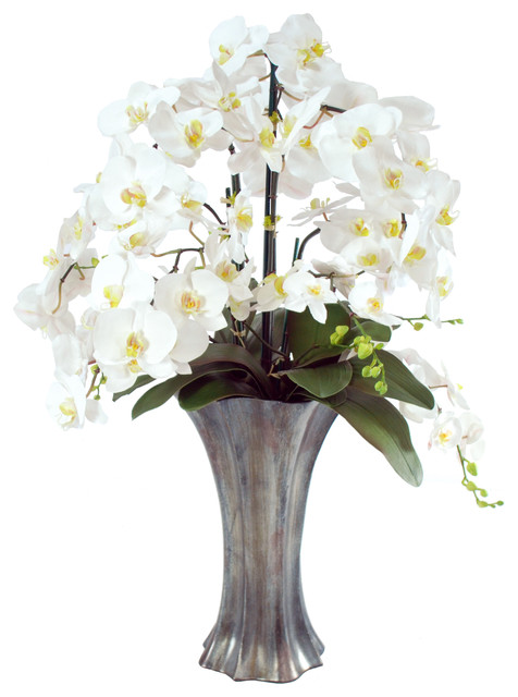 Phalaenopsis Orchids In Graphite Resin Vase 36 Tall White Contemporary Artificial Flower