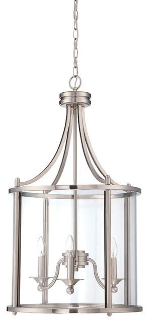 Carlton 3-Light Pendants, Brushed Nickel.