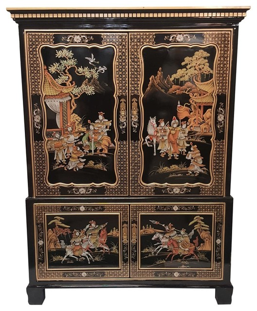 Oriental Entertainment Cabinet With Push In Doors 55 Asian
