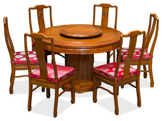 Chinese Rosewood Round Dining Table Set with 6 Chairs