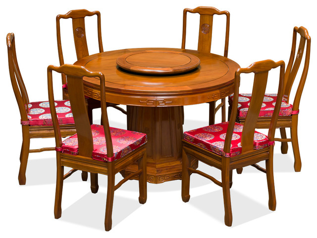 Chinese Rosewood Round Dining Table Set With 6 Chairs Asian Dining Sets