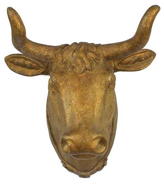 Antique Gold Resin Bull Head.