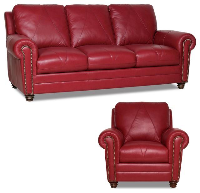 Marley Leather Sofa, Cherry.