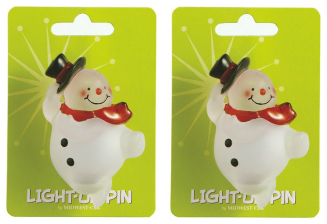 Lights Up Snowman Winter Fun Pins, Set Of 2