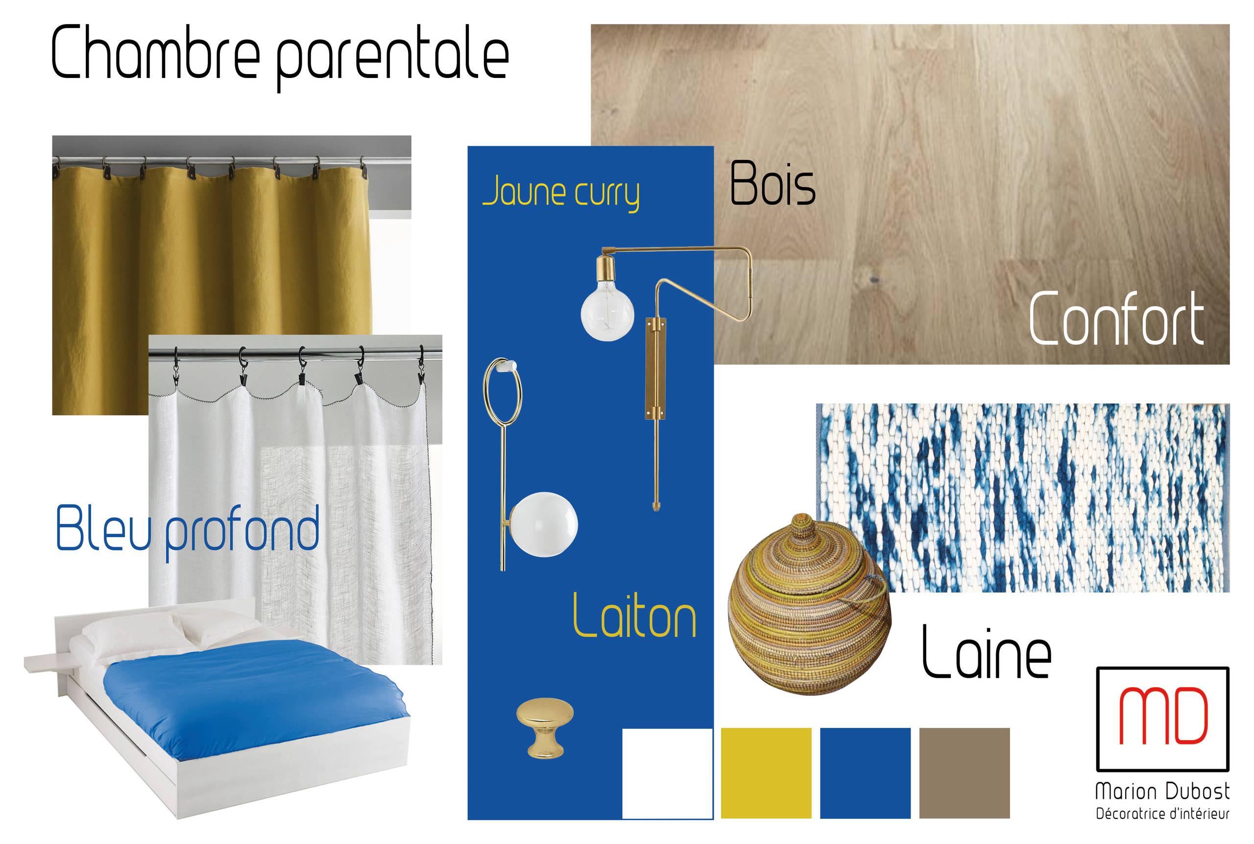 Planche d'ambiance chambre parentale