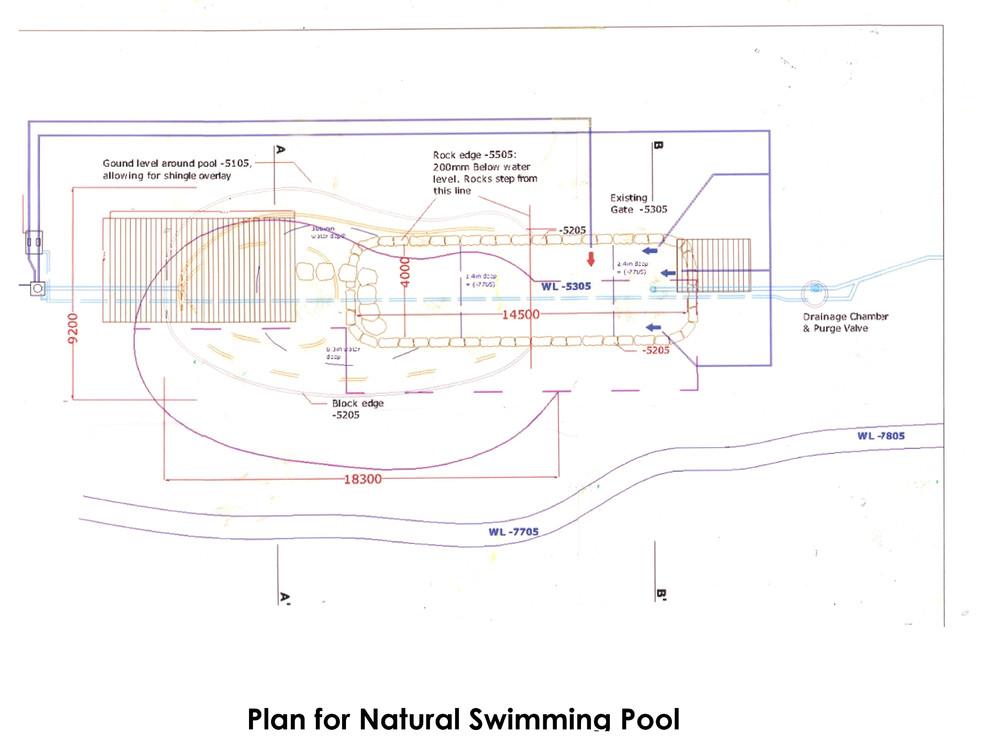 Plan for natural swimming pool