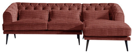 Earl Grey Chaise Sofa, Terracotta, 3 Seater, Right Hand Facing