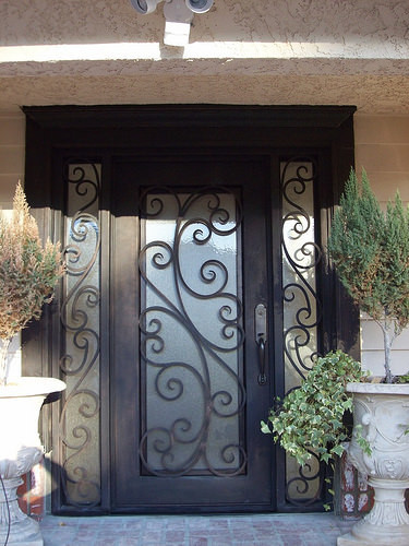 front entry 38 wide single door v double door full wrought iron
