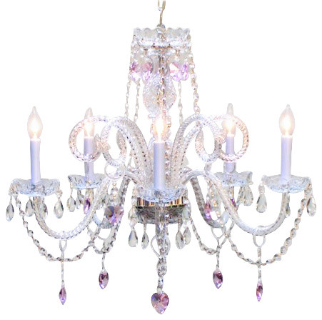 chandelier with pink crystal hearts  traditional  kids ceiling, Lighting ideas