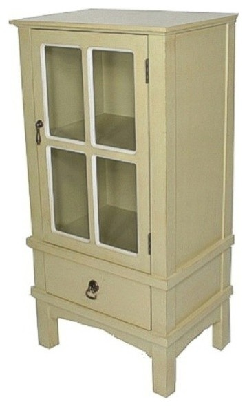 1-Door, 1-Drawer Accent Cabinet With Paned Glass Inserts, MDF, Wood Clear Glass