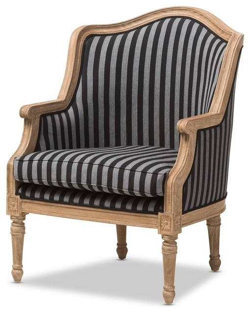 Marvelous Charlemagne Traditional French Black And Gray Striped Accent Chair Machost Co Dining Chair Design Ideas Machostcouk