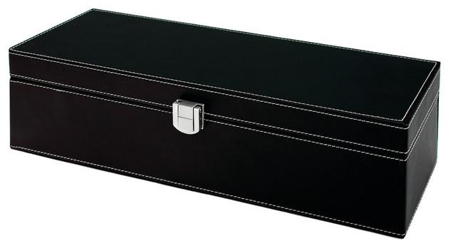 Black Faux Leather 1 Bottle Accessory Gift Set by True