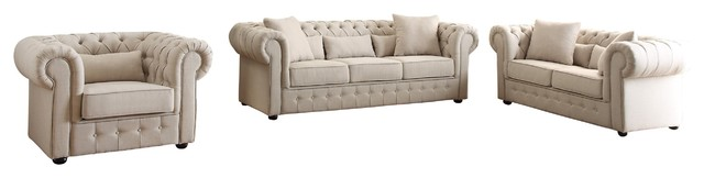 3-Piece Scotlynn Button Tufted Set Sofa, Love Seat And Chair, Natural Fabric.