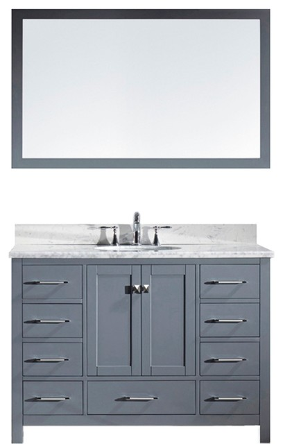Winston Oak And Marble Bathroom Vanity, Round Sink With Brushed Nickel Faucet.