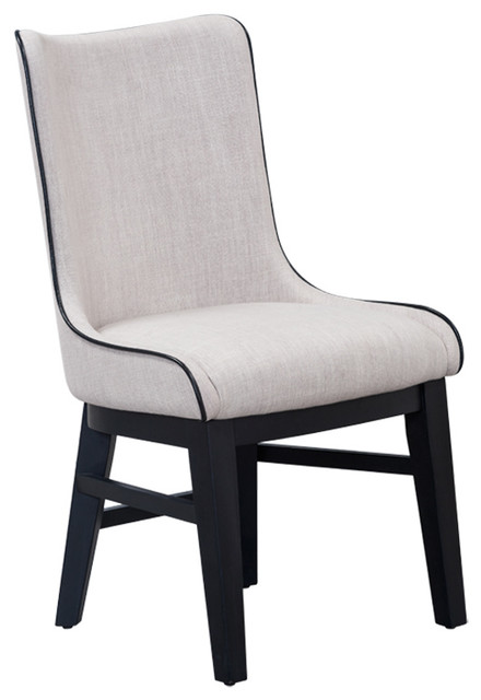 fabric dining chair with black piping