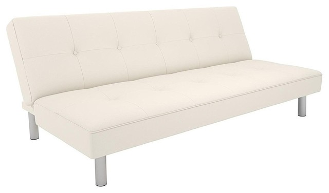 Futon Couch With Tufted Faux Leather